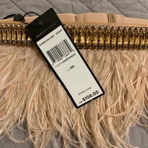 NWT BCBG Ostrich Feather and Jeweled belt